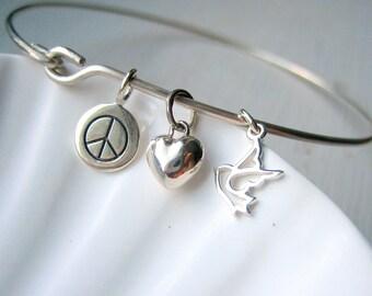 Peace, Love & Hope Bangle Bracelet - Sterling Silver Bangle - Stacking Bracelet