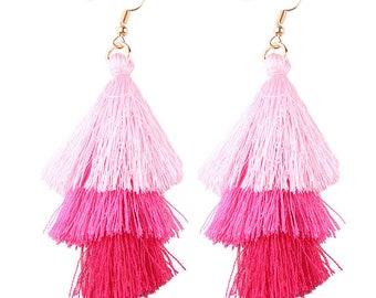 Dangle Tassel Fringe Earrings - Cotton Candy Pink