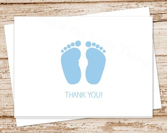 baby boy thank you card . blue baby feet . folded note cards notecards . stationery . baby shower cards . set of 8