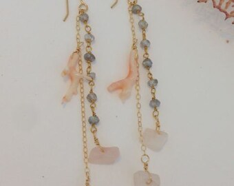 14kt Gold Filled Dangle Earrings with Labradorite, Pink Coral, and Rose Quartz