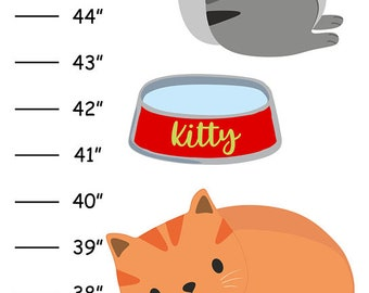 Personalized Kitty Cat Canvas Growth Chart