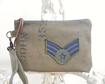Militaire bracelet en toile, tissus vintages - patch insigne - eco d'embrayage