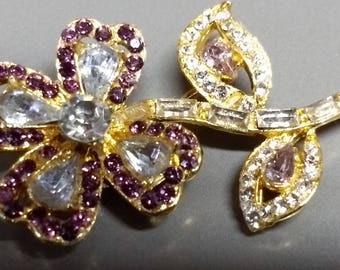 Sparkling Rhinestone Encrusted 4 Petal Flower Brooch Pin Purple and Clear #B922