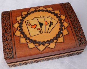 Handmade Wooden box for playing cards