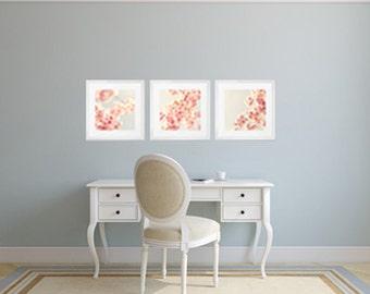 Blush pink wall art, cherry blossom art, wall art canvas, canvas wall art, blsh pink decor, canvas art, flower photography, large wall art