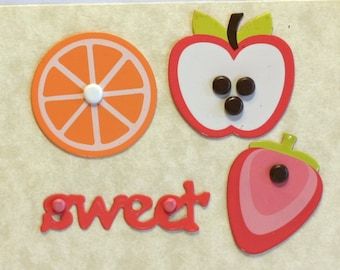 4 assorted Brads - Sweet Fruit Paper Brads - Strawberry Orange Apple Sweet - Scrapbook supplies