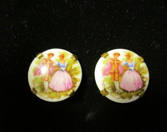 Limoges Round Clip On Earrings, Victorian Couple on Porcelain