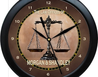 """Law Office 10"""" Personalized Attorney Wall Clock"""