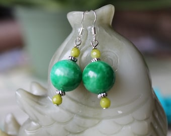 Green Jade Earrings, sterling silver hook