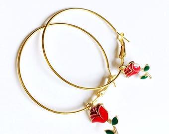 Gold plated ROSE HOOP EARRINGS