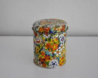 ON SALE Vintage Floral Flower Tin