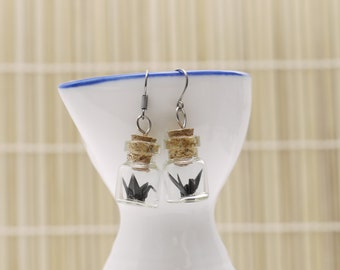 Origami earrings black crane in tiny glass bottle -MADE TO ORDER