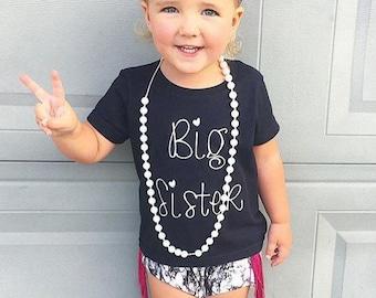 SALE!!! Big Sister Shirt;Short Sleeve Black T-shirt;Kid's Big Sister Shirt;Announcement Shirt;Custom Kid's Big Sister Shirt;Black Kid's Tee
