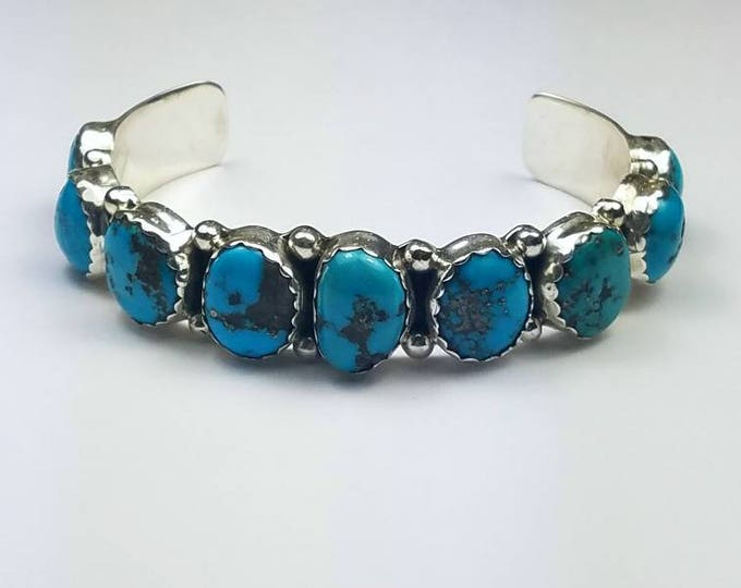 Featured listing image: Native American Navajo handmade Sterling Silver natural high grade Kingman Turquoise cuff bracelet