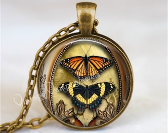 Butterfly Pendant Necklace Monarch Swallowtail Moth Art Jewelry Charm, Insect Jewelry, Gift for Entomologist Entomology