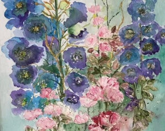 original Mixed media painting of a hollyhocks and roses