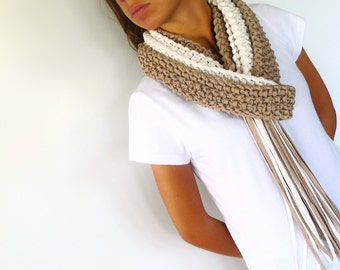 Taupe & beige knit fringe scarf. Womens cotton scarf. Cotton summer scarf. Knitted scarf. Gift idea for her