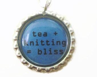 "Tea Infuser with knitting bliss Charm - 2"" Mesh Tea Ball"