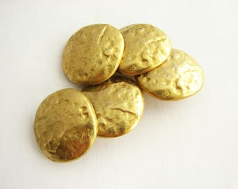 5 gold metal buttons, large shank buttons with irregular surface, 23 mm across