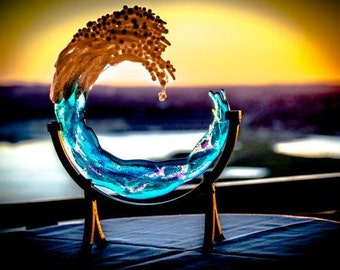 3D Ocean Wave 8 inch Pet Cremation Ash Memorial Ashes InFused Glass with Rod Iron Stand Urn Sculpture