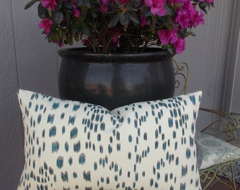 Rare French Les Touches Pillow Cover Lumbar Brunschwig & Fils  Dark Blue on Ivory Printed in France
