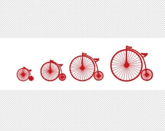 Vintage Bicycle Embroidery Design File - multiple formats - 4 sizes - one color design - instant download