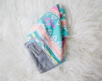 Aztec Teal Minky Security Blanket, Soft Grey Lovy Blanket, Lovey Blanket, Grey Minky Blanket, Gender Neutral Lovey, Soft Teal Girl Blanket