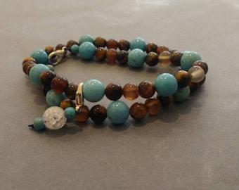 Nursing blue tiger eye and howlite bracelet