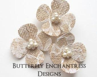 Burlap Lace Wedding Flowers, Bridal Hair Accessories, Rustic Farm Wedding - 3 Hydrangea Flower Hair Combs - Pearl Crystal Cluster Centers