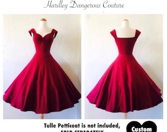 Sale! Tea Length, Mod Ruby Red Rockabilly Swing Dress, Cranberry Pinup Dress, Vintage Burgundy Wine Stretch Knit, The CHERI Multiway Dress