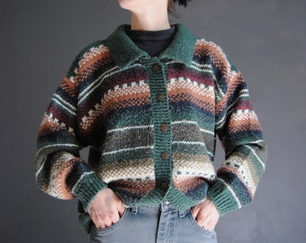 90s striped cardigan -- vintage grunge cardigan, oversized cardigan sweater, chunky knit, fair isle, baggy, 1990s 90s clothing, small