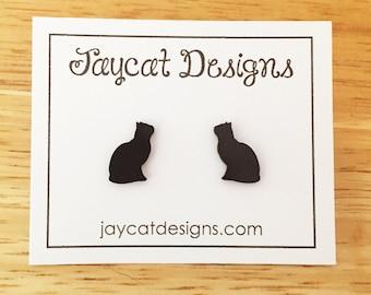 Black Cat Earrings, Cat Silhouette Stud Earrings