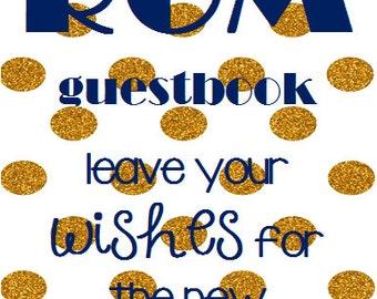 Gold/Navy Polka Dot - Guestbook Sign
