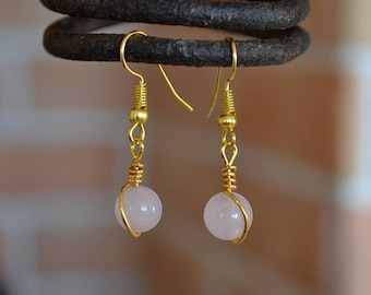 Rose quartz earrings, Quartz gold plated earrings, Quartz earrings, Rose quartz drop earrings, Gold earrings rose quartz, Rose earrings.