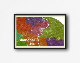 Shanghai China - Poster Print Map Art Wall Decor