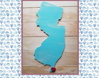 Wildwood New jersey shape wood wall art with heart, Hand-painted and distressed