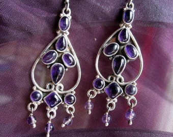 Amethyst and Silver Earrings.