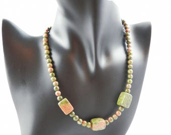 Unakite stone necklace