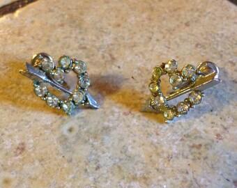 Heart with Arrow Rhinestone Earrings by Nemo