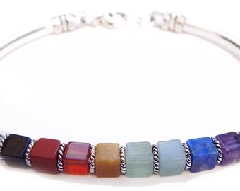 BANGLE Chakra Bracelet  7 Stone Crystal Healing Meditation Yoga Inspirational Spiritual Gemstone Jewelry Balance Energy Power Woman