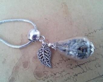 Lavender glass drop necklace ~ silver ~