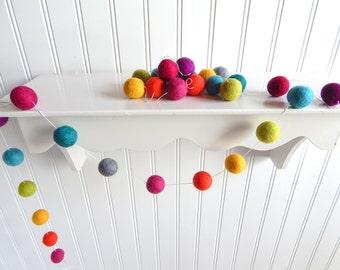 Felt Ball Garland, Nursery Decor, Birthday Garland, Rainbow Garland, Baby Shower Decor, Pom Pom, Party Garland, Cake Smash, Playroom Decor