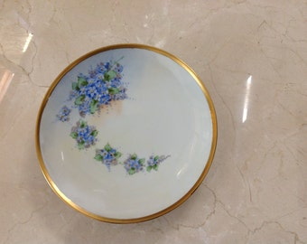 Vintage Nippon Gold Rimmed Plate Hand Painted Moriage blue flowers