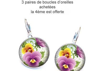 Flower Earrings, sleepers, pansies yellow purple resin cabochon