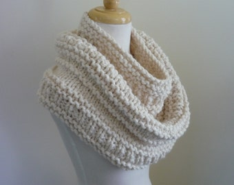 Knit Cowl,  Gift Ideas, For Her, Chunky Infinity Scarf, Circle Scarf, Neck Warmer, Snood, Textured Cowl in Fisherman, Womens Accessories
