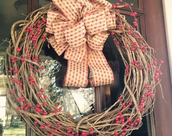 """Rustic 18"""" Branch Wreath with Berries and Burlap Bow"""