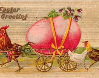 Vintage Postcard, Rooster Pulling Huge EGG in Wagon, Big Bow, 1910