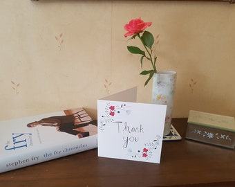 Thank You - Floral - Greeting Card - Blank