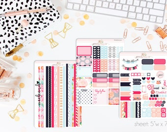 Floral Affair HORIZONTAL Weekly Kit // 130+ Matte Planner Stickers // Perfect for your Erin Condren Life Planner // WKH0310