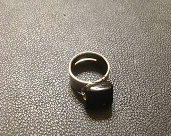 Ring With Black Glass Bead